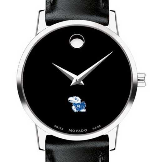 615789036661: Univ of Kansas Women's Movado Museum W/ Leather Strap