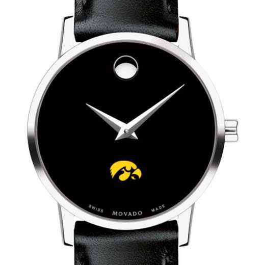 615789177029: Univ of Iowa Women's Movado Museum W/ Leather Strap