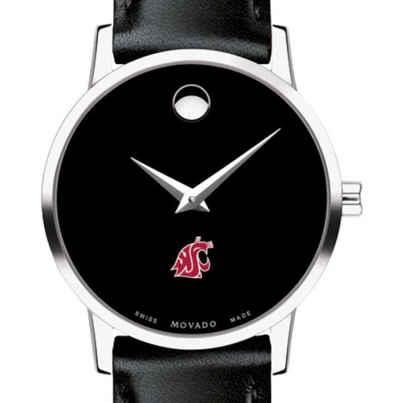 615789842750: Washington State Univ Women's Movado Museum W/ Leather Strap