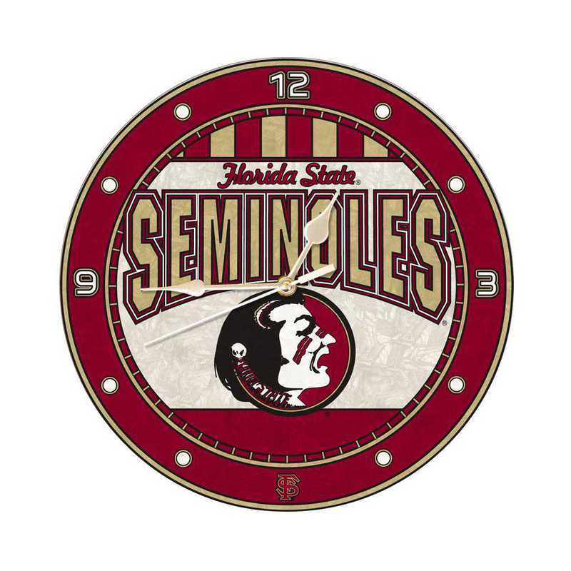 COL-FSU-274: MC 12in Art Glass Clock-Florida St