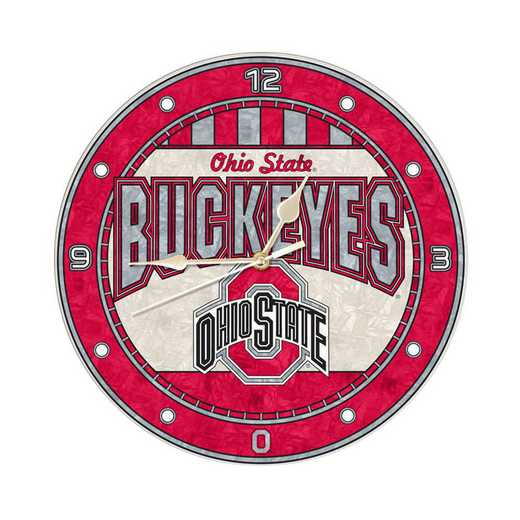 COL-OSU-274: MC 12in Art Glass Clock-Ohio State