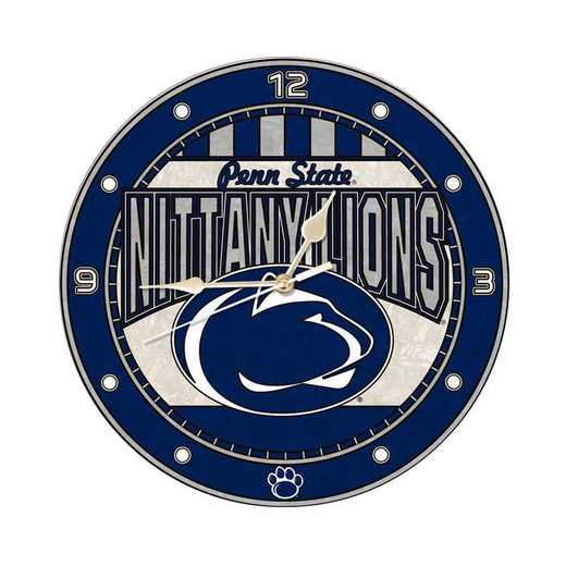 COL-PSU-274: MC 12in Art Glass Clock-Penn State