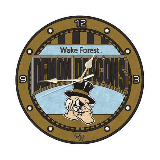 COL-WKF-274: MC 12in Art Glass Clock-Wake Forest