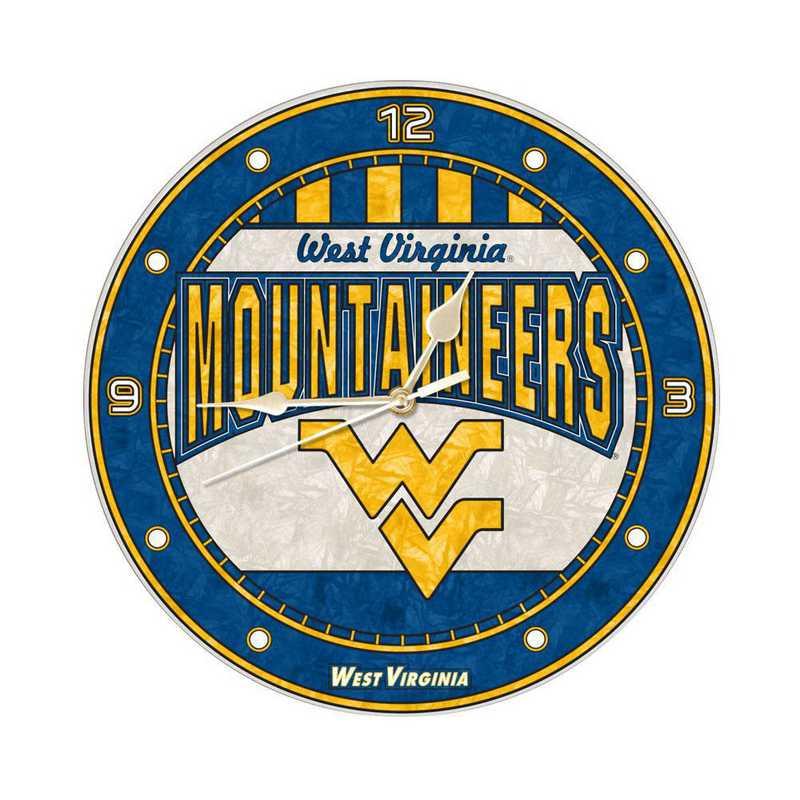 COL-WVI-274: MC 12in Art Glass Clock-West Virginia