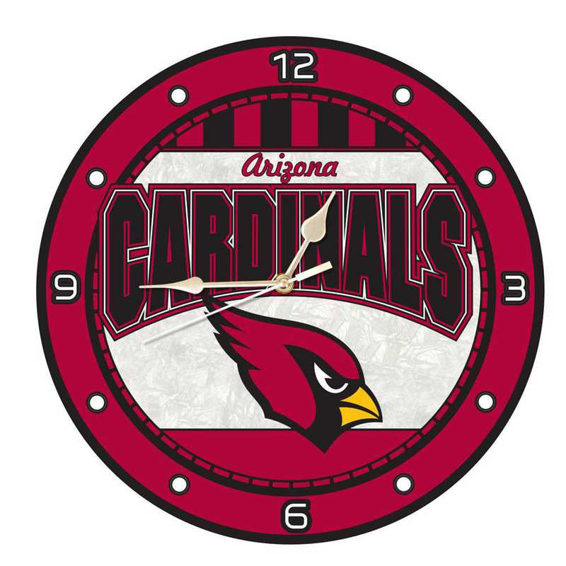 NFL-ACA-274: MC 12in Art Glass Clock-Cardinals