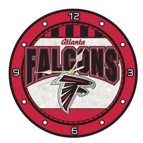 NFL-AFA-274: MC 12in Art Glass Clock-Falcons