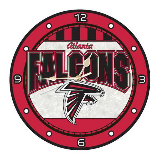 NFL-AFA-274: MC 12in Art Glass Clock-Falcons