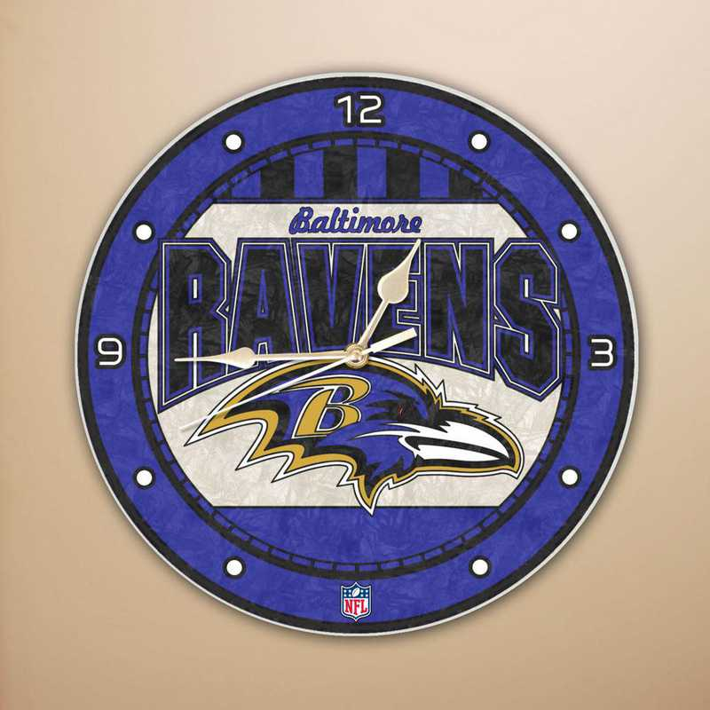 NFL-BRA-274: MC 12in Art Glass Clock-Ravens