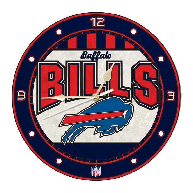 NFL-BUF-274: MC 12in Art Glass Clock-Bills
