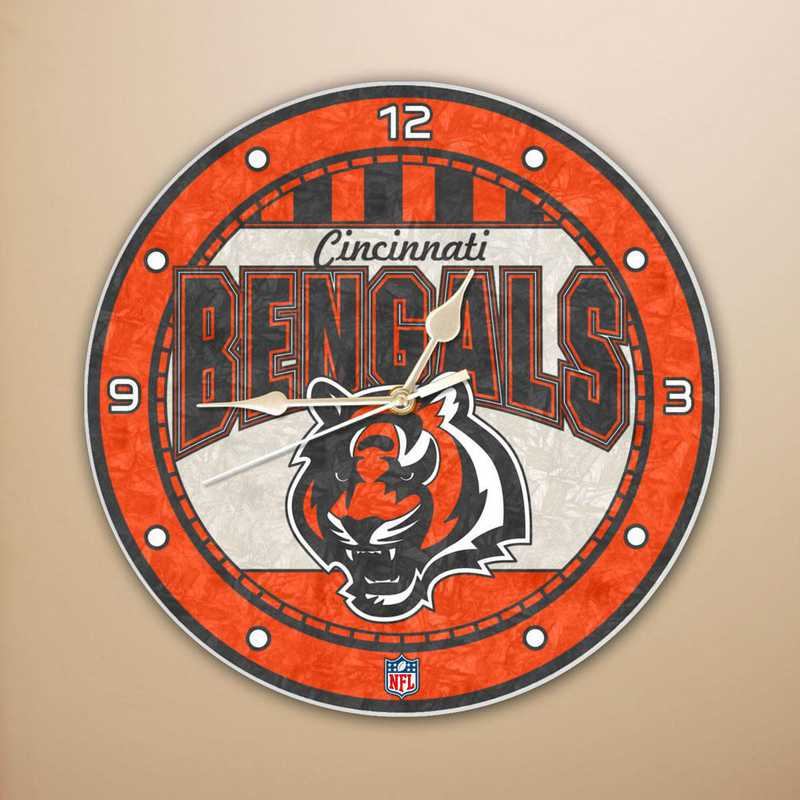 NFL-CBG-274: MC 12in Art Glass Clock-Bengals