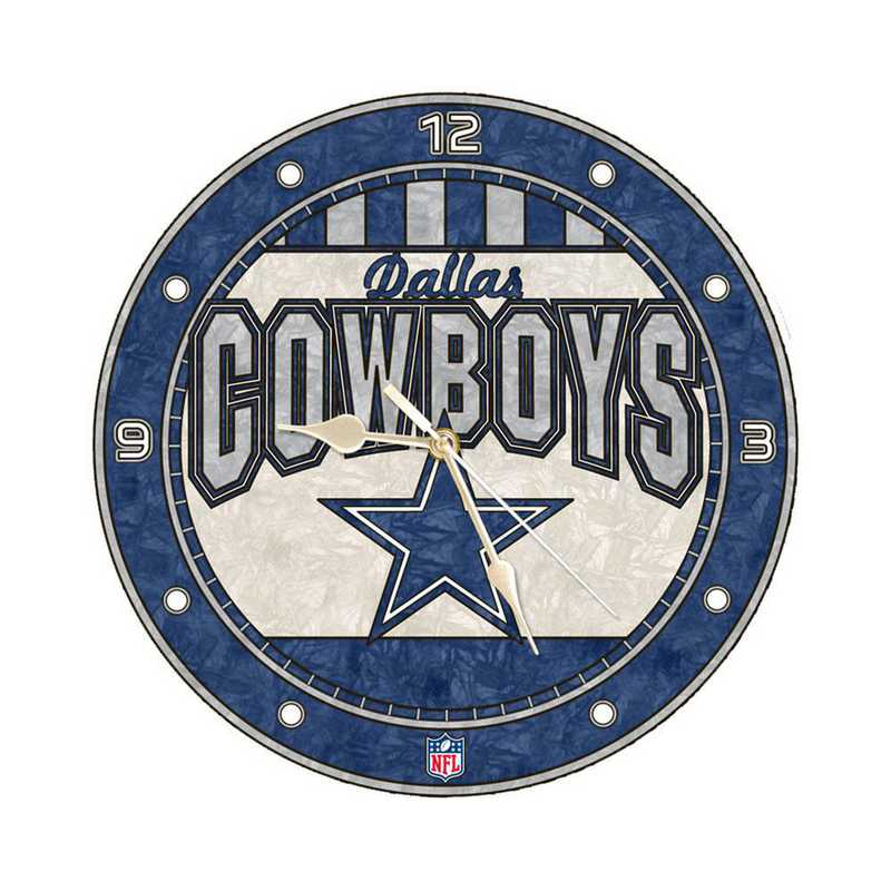 NFL-DAL-274: MC 12in Art Glass Clock-Cowboys
