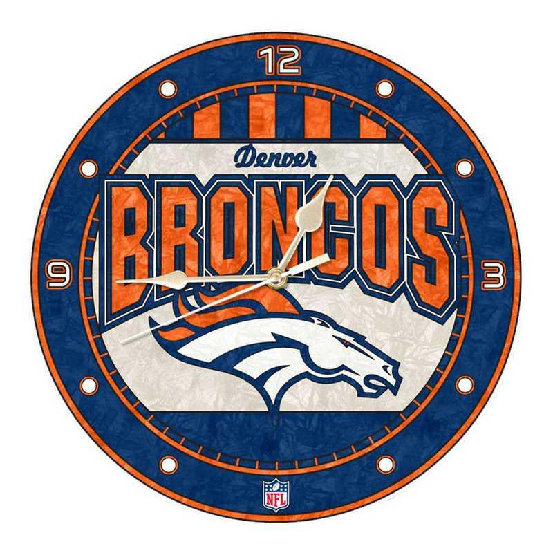 NFL-DBR-274: MC 12in Art Glass Clock-Broncos