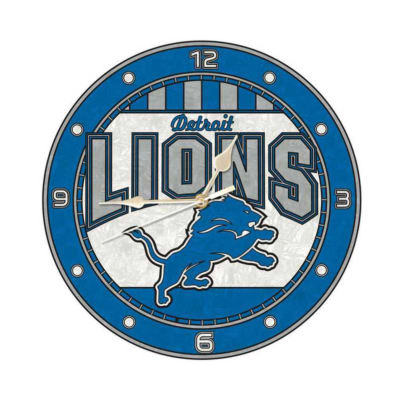 NFL-DLI-274: MC 12in Art Glass Clock-Lions