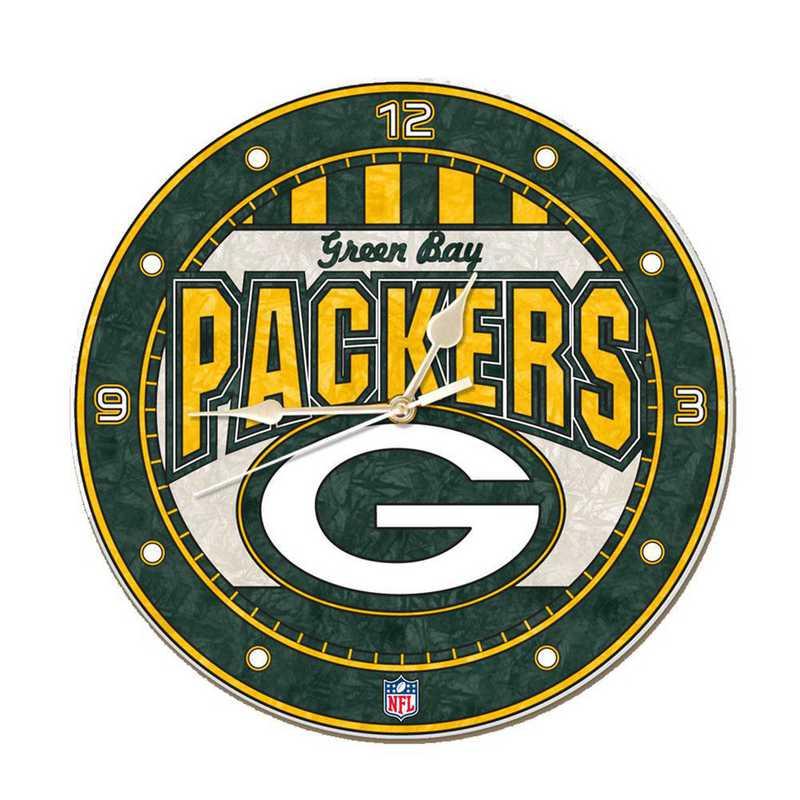 NFL-GBP-274: MC 12in Art Glass Clock-Packers