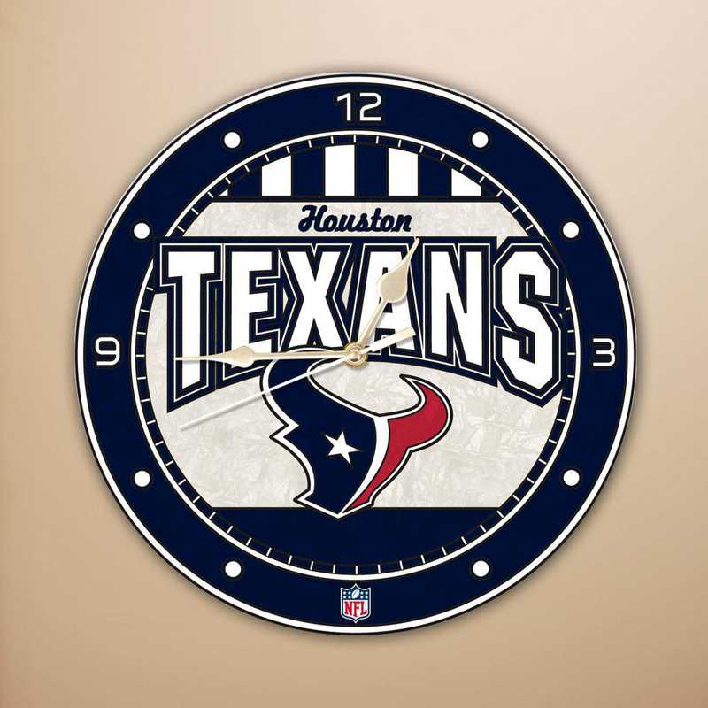 NFL-HTE-274: MC 12in Art Glass Clock-Texans