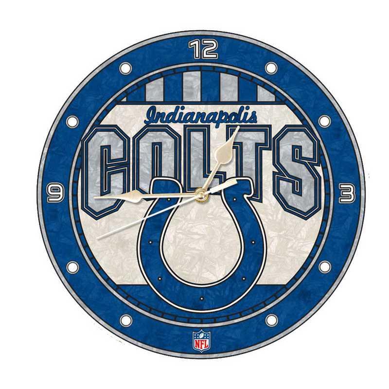 NFL-IND-274: MC 12in Art Glass Clock-Colts