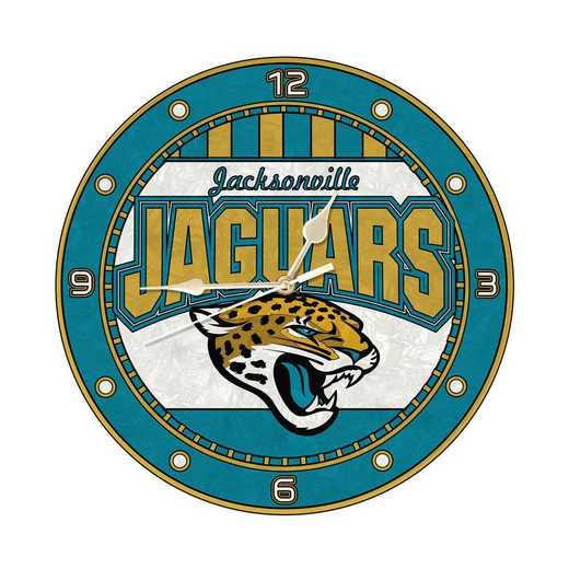 NFL-JAX-274: MC 12in Art Glass Clock-Jaquars