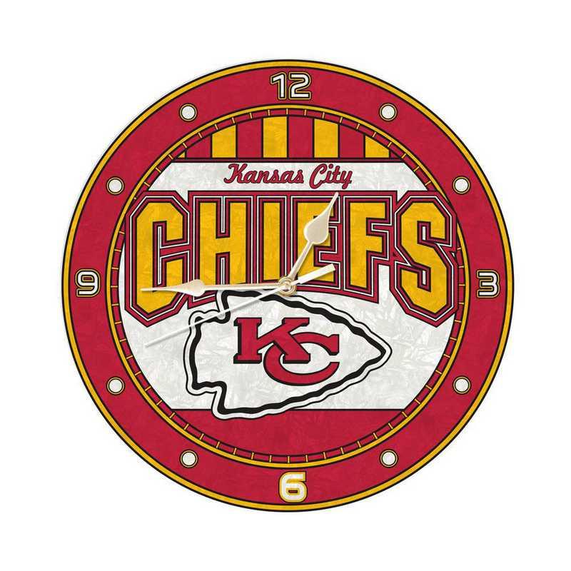 NFL-KCC-274: MC 12in Art Glass Clock-Chiefs