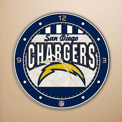 NFL-LAC-274: MC 12in Art Glass Clock-Chargers