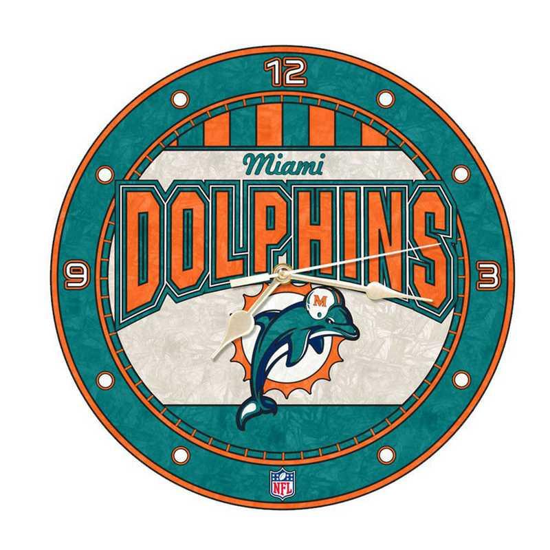 NFL-MIA-274: MC 12in Art Glass Clock-Dolphins