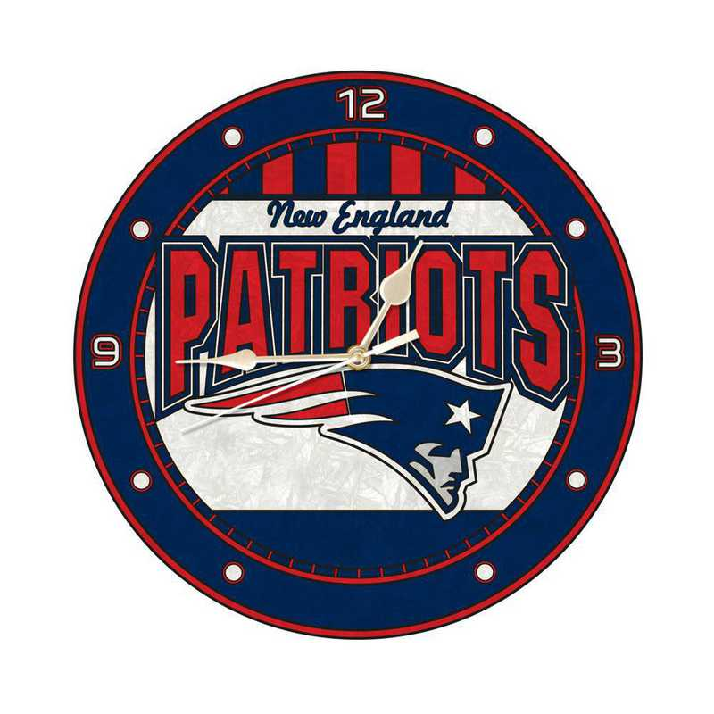 NFL-NEP-274: MC 12in Art Glass Clock-Patriots