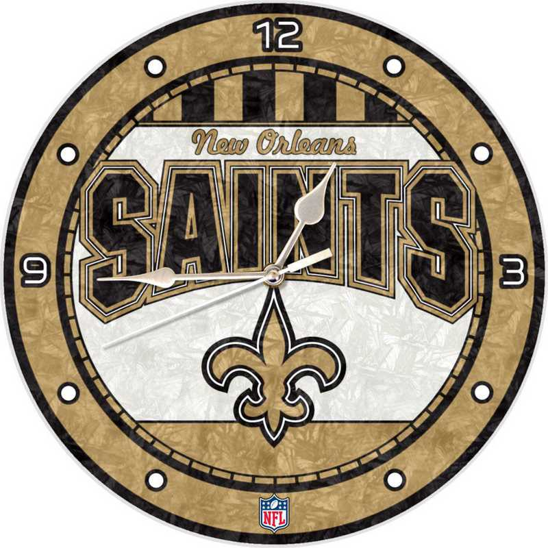 NFL-NOS-274: MC 12in Art Glass Clock-Saints