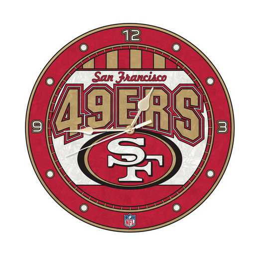 NFL-SFF-274: MC 12in Art Glass Clock-49ers