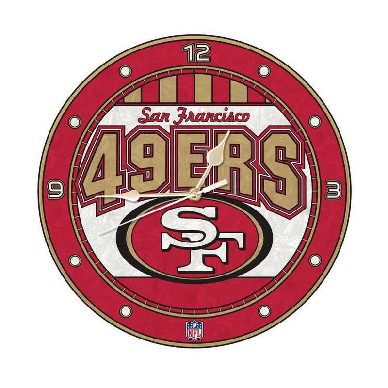 NFL-SFF-274: MC 12in Art Glass Clock-49ers