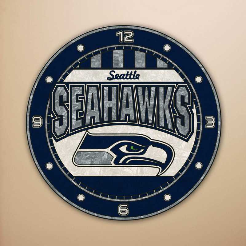 NFL-SSH-274: MC 12in Art Glass Clock-Seahawks