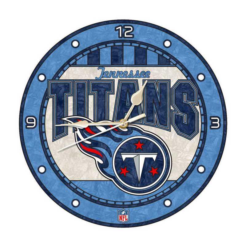 NFL-TTI-274: MC 12in Art Glass Clock-Titans