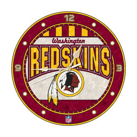 NFL-WRS-274: MC 12in Art Glass Clock-Redskins