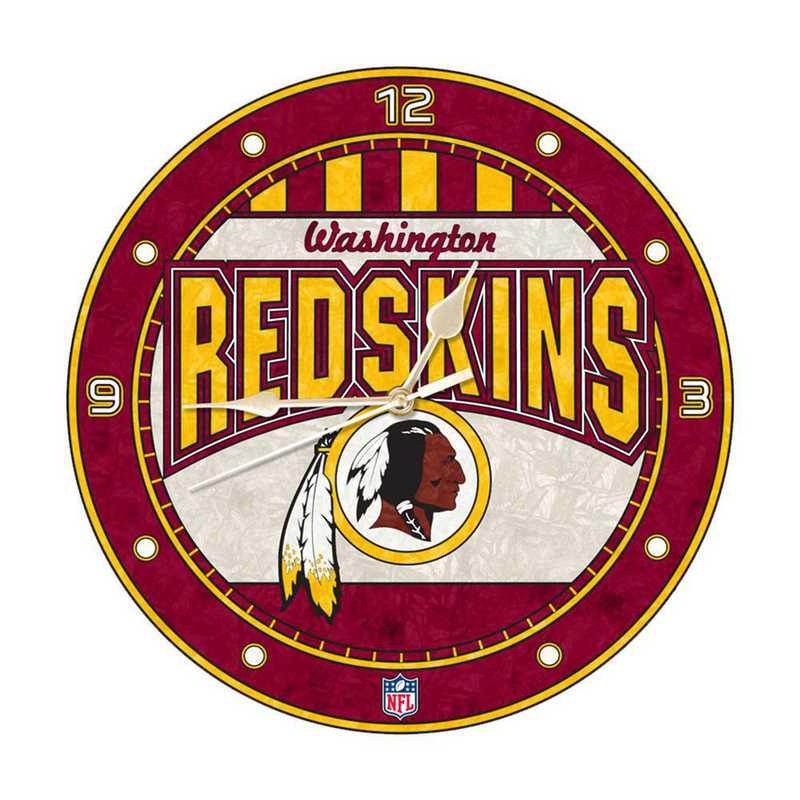 NFL-WRS-274: MC 12in Art Glass Clock-Redskins