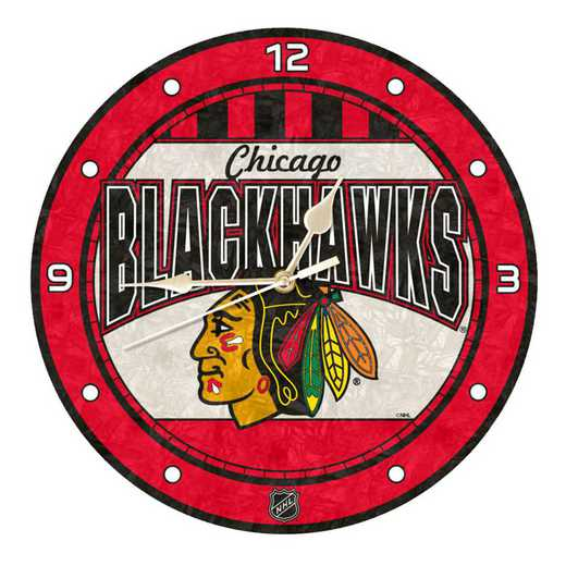 NHL-CBH-274: MC 12in Art Glass Clock-Blackhawks
