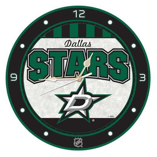 NHL-DST-274: MC 12in Art Glass Clock-Stars