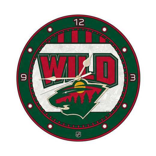 NHL-MWI-274: MC 12in Art Glass Clock-Wild