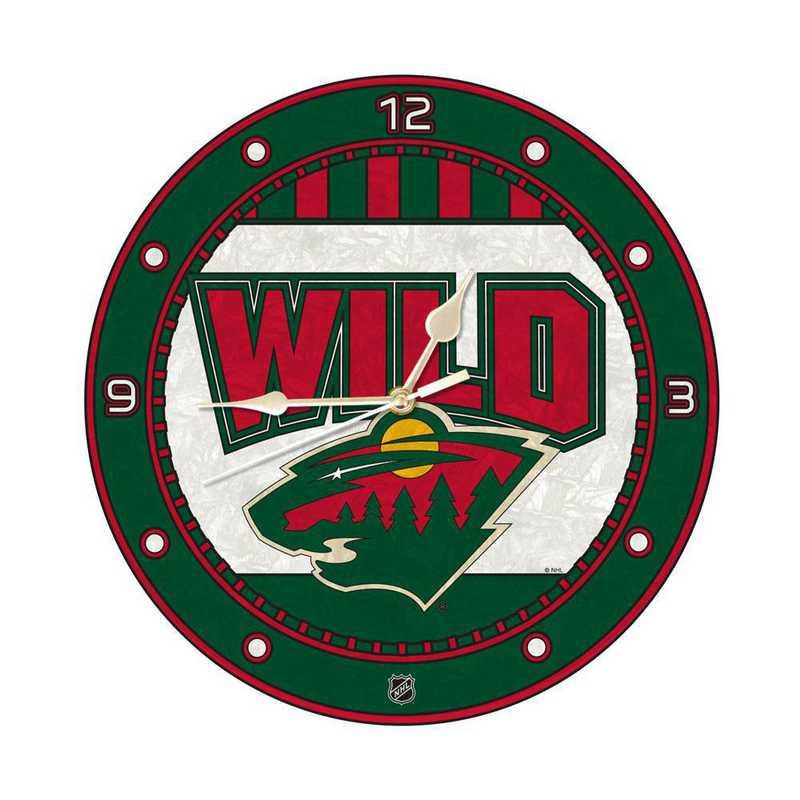 NHL-MWI-274: MC 12in Art Glass Clock-Wild