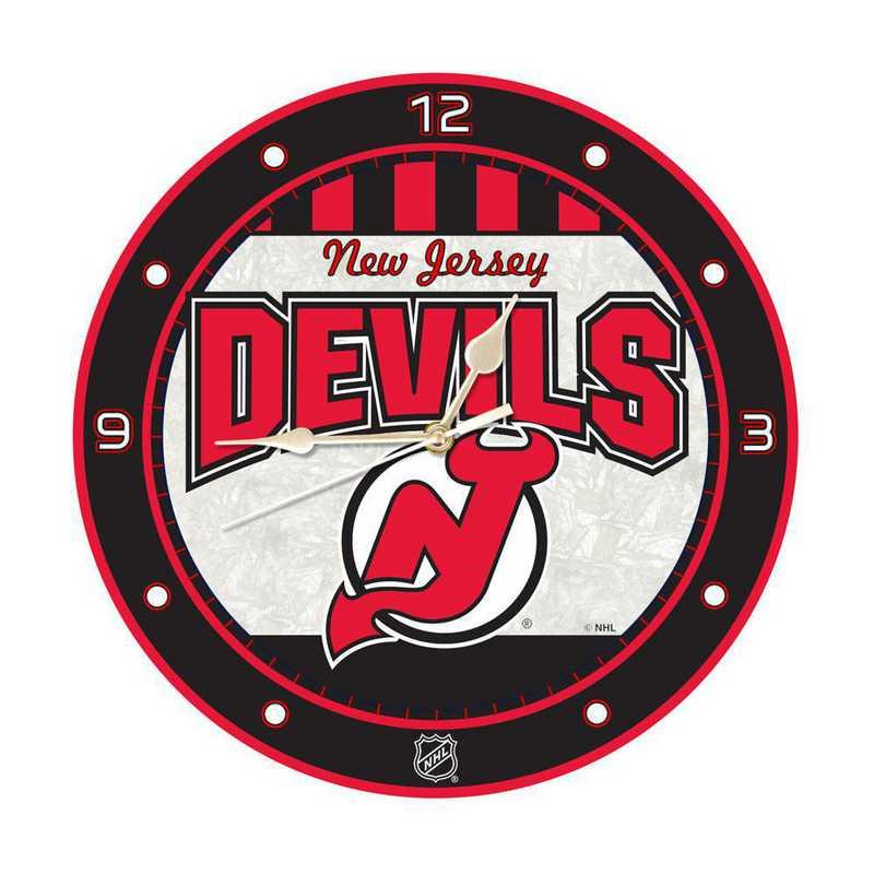 NHL-NJD-274: MC 12in Art Glass Clock-Devils