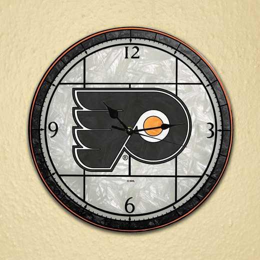NHL-PFL-274: MC 12in Art Glass Clock-Flyers