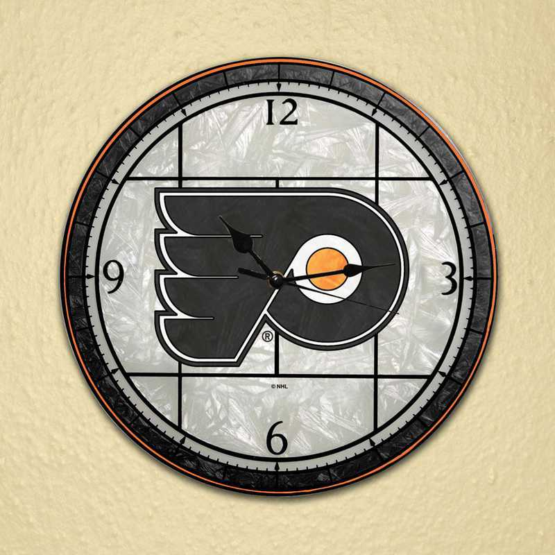 NHL-PFL-274: MC 12in Art Glass Clock-Flyers