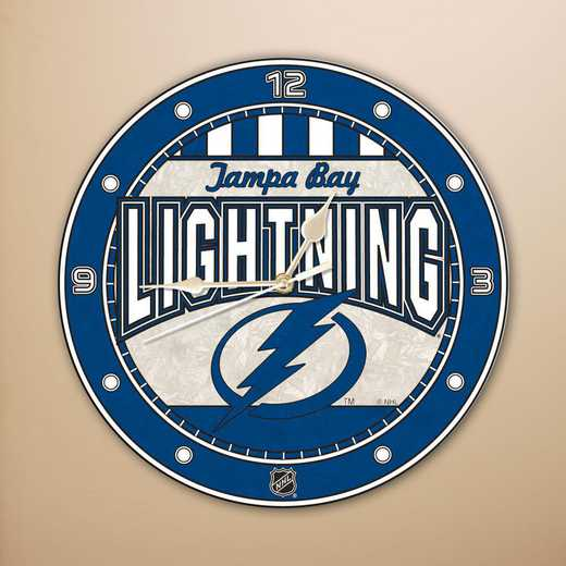 NHL-TBL-274: MC 12in Art Glass Clock-Lightning
