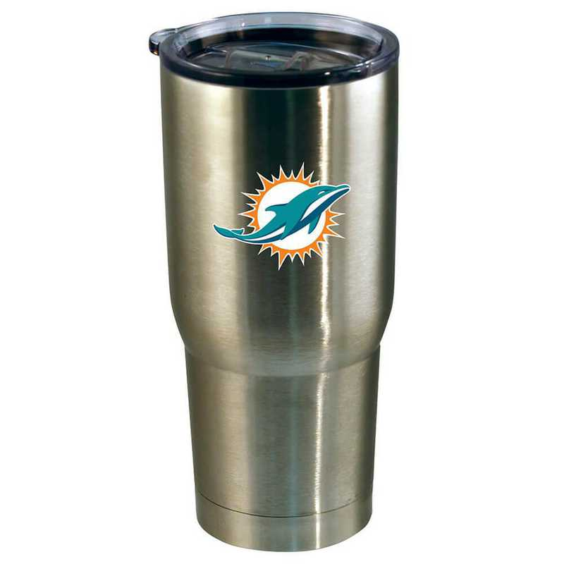 NFL-MIA-720101: 22oz Decal SS Tumbler Dolphins