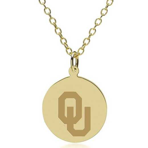 615789011248: Oklahoma 14K Gold Pendant & Chain by M.LaHart & Co.