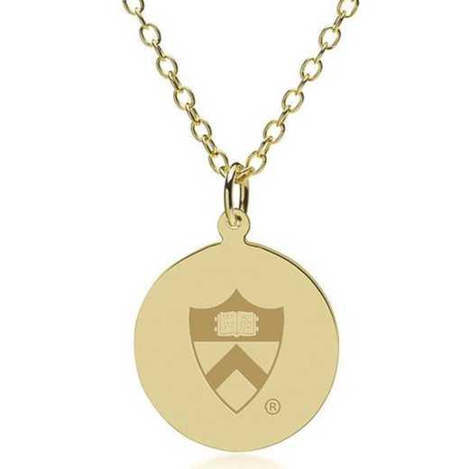 615789093534: Princeton 14K Gold Pendant & Chain by M.LaHart & Co.