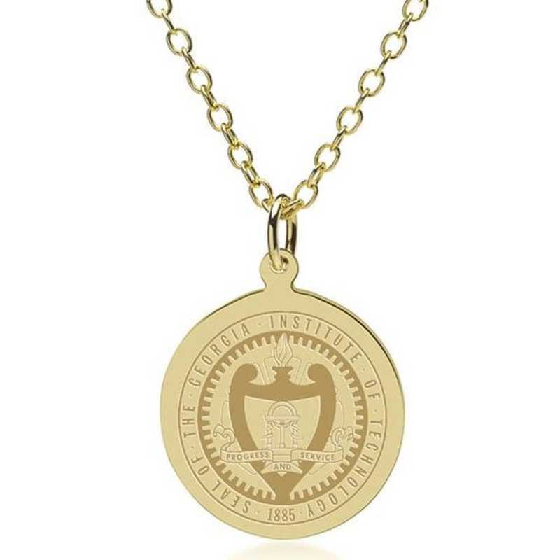 615789132813: Georgia Tech 14K Gold Pendant & Chain by M.LaHart & Co.