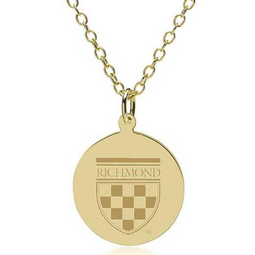 615789150732: University of Richmond 14K Gold Pendant & Chain by M.LaHart & Co.
