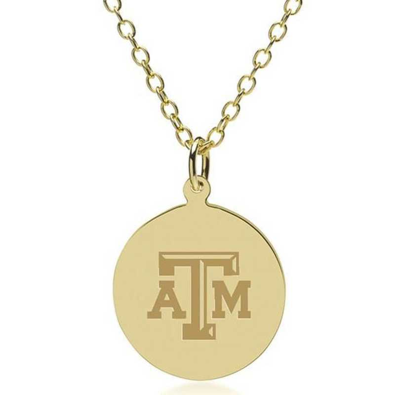 615789169642: Texas A&M University 14K Gold Pendant & Chain by M.LaHart & Co.
