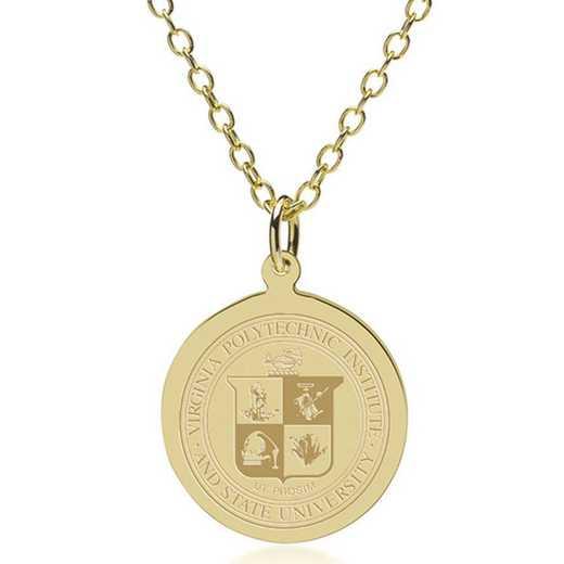 615789171126: Virginia Tech 14K Gold Pendant & Chain by M.LaHart & Co.