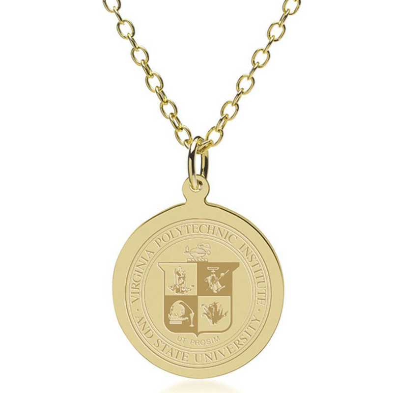 615789171126: Virginia Tech 14K Gold Pendant & Chain by M.LaHart & Co.