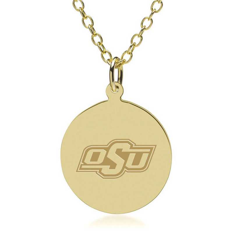 615789181217: Oklahoma State University 14K Gold Pendant & Chain by M.LaHart & Co.