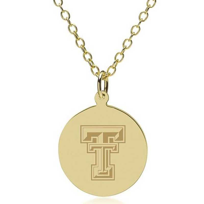 615789224136: Texas Tech 14K Gold Pendant & Chain by M.LaHart & Co.